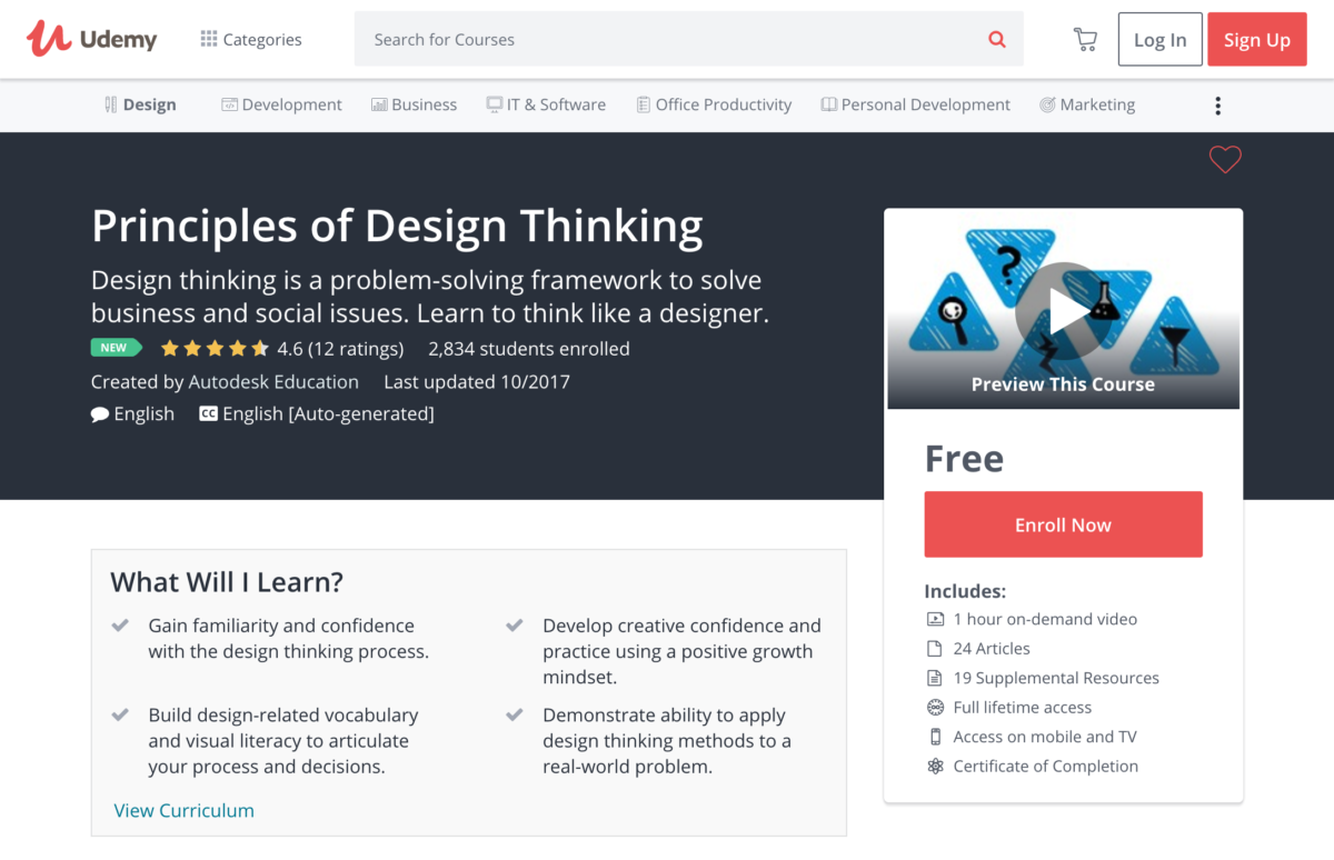 Udemy Course Principles Of Design Thinking Libby Falck - Design thinking website